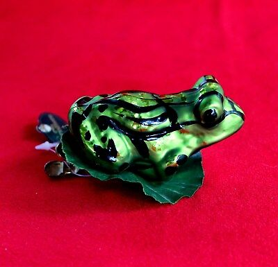 Germany Christborn Frog Clip On Christmas Ornament Glass Mouth Blown Bavaria