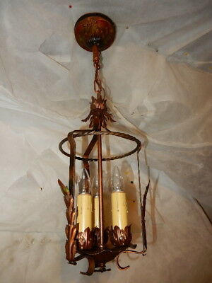 Spanish Revival Arts & Crafts Wrought Iron Chandelier Ceiling Fixture Pendant