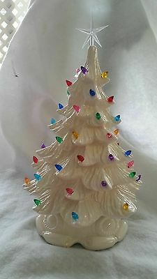 Vintage Mold New Ceramic Christmas Tree Light/Holiday/White/Great Piece 17 inch.