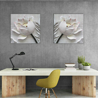 2pcs Canvas Print 3D Flower White Rose Wall Art Picture Painting Unframed