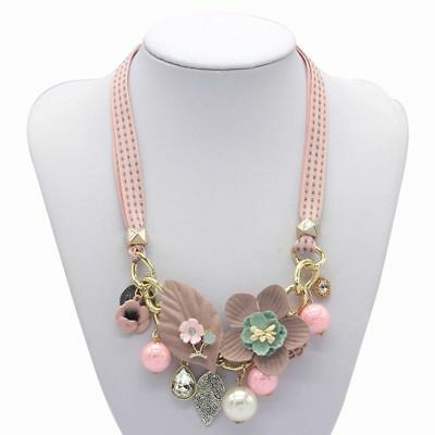 Fashion Women Crystal Flower Simulated Jewelry Necklace Pendant Choker Collar