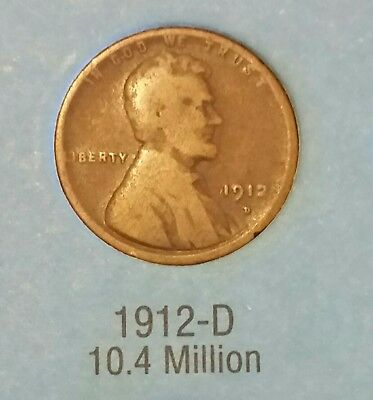 1912 D Lincoln Wheat One cent
