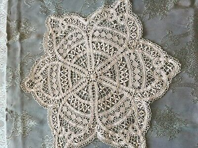 Beautiful Vintage Handmade Brussels Lace Tablecloth
