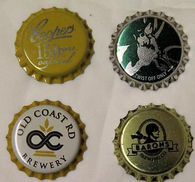 Collectible Group Of 4 Uncrimped Australian Bottle Caps/tops Group 1 - New