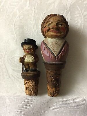 Two Vintage ANRI Hand-carved Wooden Wine Corks