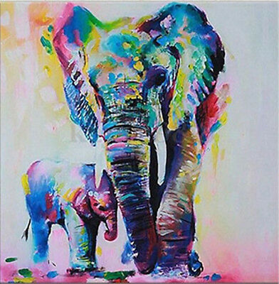 """abstract animal multi-color elephant hand-painted oil painting 24x36"""""""