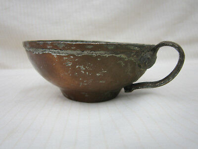 Small Copper Bowl with Brass Handle Vintage Retro Antique
