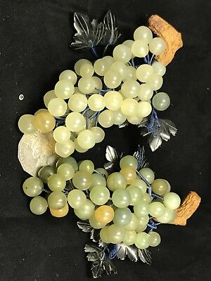 A Pair Of Vintage Chinese Hand Decorated Jade Grapes