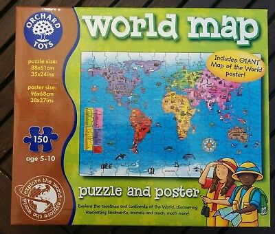 Orchard toys world map jigsaw poster educational 5 10 yrs orchard toys educational games world map puzzle poster gumiabroncs Images