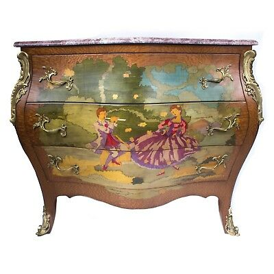 Painted Wood Commode Chest French Style Louis Xv Hand Made