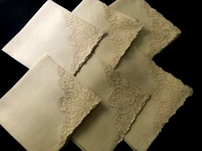 "Six Gorgeous Off-white Linen Dinner Napkins w/Embroidered Lace Corner, 16 1/2""SQ"