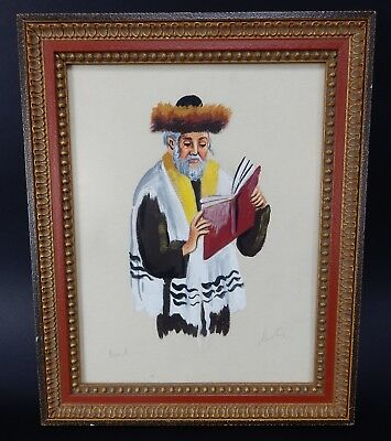 Beautiful Painting of Rabbi Original Oil on Canvas Artist Signed Framed 14 x 12