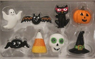 "Midnight Market- ""HALLOWEEN GHOST/BAT/PUMPKIN/CAT"" (Mini 8pc Ornament Set) *NIB*"