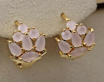 18K Yellow Gold Filled - Flower Opal Pink Topaz Zircon Gemtone Cocktail Earrings
