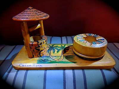 Vintage Wooden Hand Painted Travel Souvenir From Costa Rica