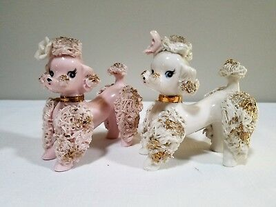 Pair of Vintage Pink & White Spaghetti Poodle Figurines Inarco Japan # E-1795