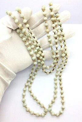Antique Art Deco Egyptian Revival Neiger Brothers Glass Hand Knotted Necklace