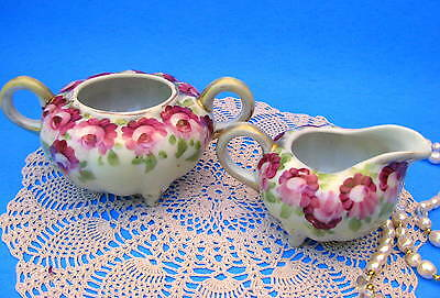 Royal Nippon Hand Painted Creamer and Sugar Bowl, Antique Melon Shape c.1800s