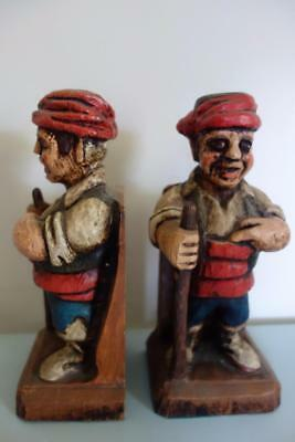 """French Actress Estate-Vintage Antique PAIR Carved Wooden FIGURAL BOOKENDS 11"""""""
