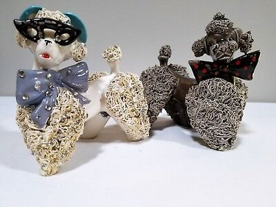 Pair Vintage White and Grey Spagetti Dog Figurines Norcrest Japan