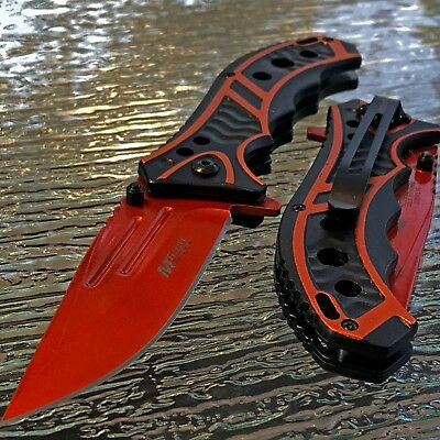 "MTECH 8.25"" USA SPRING ASSISTED TACTICAL FOLDING POCKET KNIFE ORANGE Assist Open"