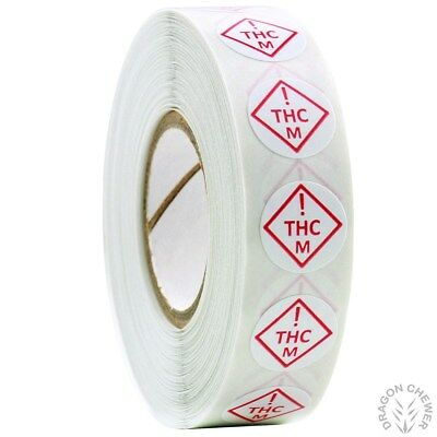 """Colorado Medical Universal THC Symbol Labels .5"""" Round - 1,000 Stickers - 1 Roll"""