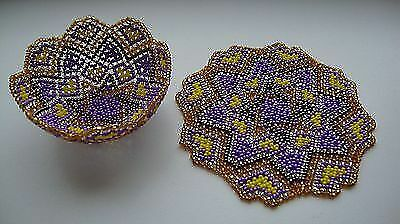 Handmade Bowl of Beads and Beaded Doily