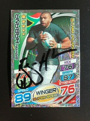 Signed Bryan Habana South Africa Rugby Attax 2015 Star Player Card