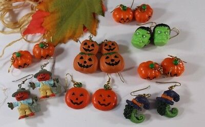 HALLOWEEN Pumpkin Jack O Lantern Earrings  Lot of 8 Witches Scarecrow 🎃