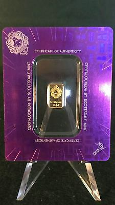 1 gram Scottsdale Mint .9999 Gold Bar - Sealed in Certi-Lock