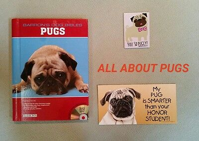 Pugs: Barron's Dog Bibles by Rice, Dan & 2 Pug Magnetic Signs - Lot of 3 Items