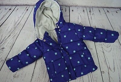 Carters Toddler Girls Puffer Jacket Coat Blue w/ Owls Owl Hooded Size 3T