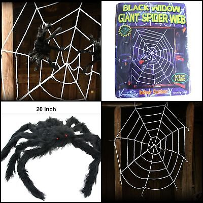 Spider Decoration,5 Feet Giant Spider Web With Two Black Bendable 20 Inch