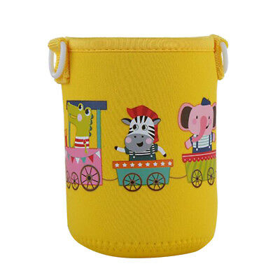 600ml Water Bottle Carrier Sleeve Shoulder Strap Insulated Kids,Yellow Zoo