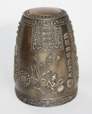 Chinese bronze bell  -  highly decorated with symbols and writing