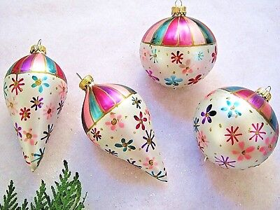 4 Blown Glass Figural Christmas Ornaments Cone & Round Painted Flowers Stripes