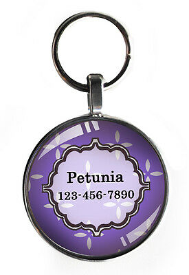 One inch purple pet tag for small dogs custom personalized steel dog tag
