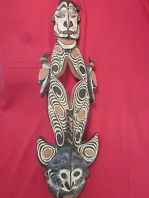 "RARE Huge Papua New Guinea Carved Wood Tribal Piece 20th Century 38"" Tall"