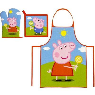Official Peppa Pig Apron 3 pc Set Kids Children Baking Easter  Pancake Day 3-8 Y