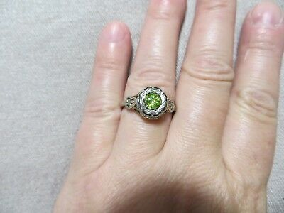 Antq.Victorian/ Art Nouveau Ornate Filigree Solitary14k Gold Two tone ring 7 3/4