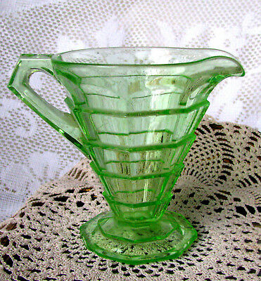 "Indiana Glass Green Tea Room Creamer Green Depression Glass 4"" Creamer c.1920s"