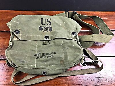 WWII WW 2 Green US Army Lightweight Service Has Mask Canvas Bag- 2 straps