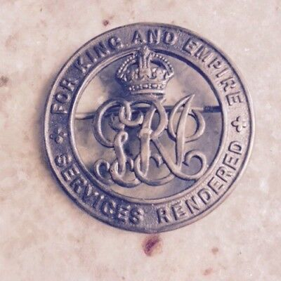 The Silver War Badge - WW1 For King and Empire Service Rendered Badge Pin C28448
