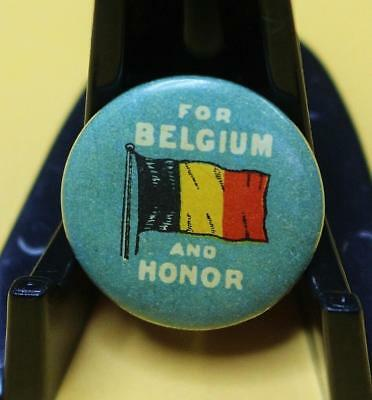 """Vintage Small Size Tin Badge Pin Back """"For Belgium and Honor """" WW1 Period Exc 88"""