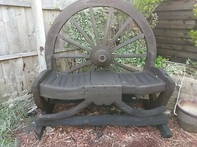 Horse cart wheel bench
