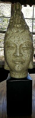 "VINTAGE Oriental ASIAN GODDESS HEAD STATUE WITH BLACK SQUARE STAND 22"" high"