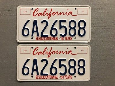 CALIFORNIA Sesquicentennial License Plate  PAIR  6A26588