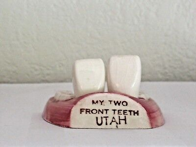 """Vintage """"Two Front Teeth"""" Utah Souvenir Salt and Pepper Shakers A32s"""