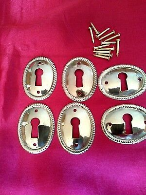 ANTIQUE LOOKING SOLID BRASS KEYHOLE COVERS - Lot of 6 (SIX) - Dresser Chest