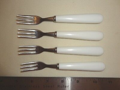 Vintage Stainless Appetizer Forks With White Plastic Handles - Japan